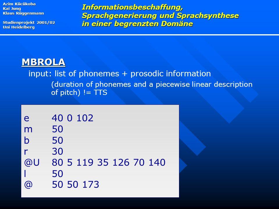 input: list of phonemes + prosodic information (duration of phonemes and a piecewise linear description of pitch) != TTS Azim Kücükoba Kai Jung Klaus Rüggenmann Studienprojekt 2001/02 Uni Heidelberg Informationsbeschaffung, Sprachgenerierung und Sprachsynthese in einer begrenzten Domäne MBROLA e 40 0 102 m 50 b 50 r 30 @U80 5 119 35 126 70 140 l 50 @50 50 173