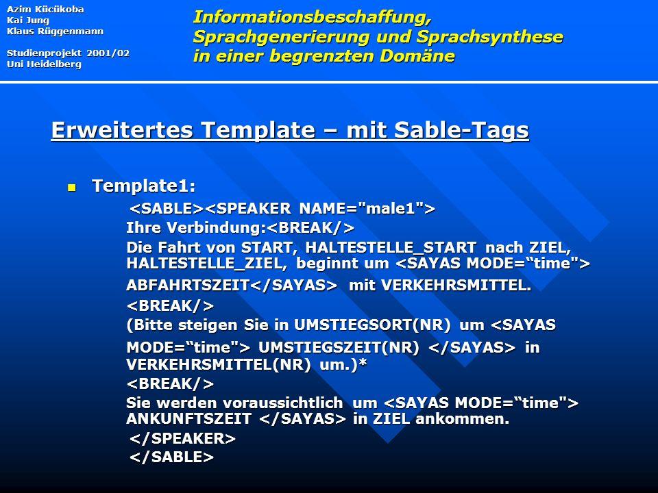Template1: Template1: Ihre Verbindung: Ihre Verbindung: Die Fahrt von START, HALTESTELLE_START nach ZIEL, HALTESTELLE_ZIEL, beginnt um ABFAHRTSZEIT mit VERKEHRSMITTEL.