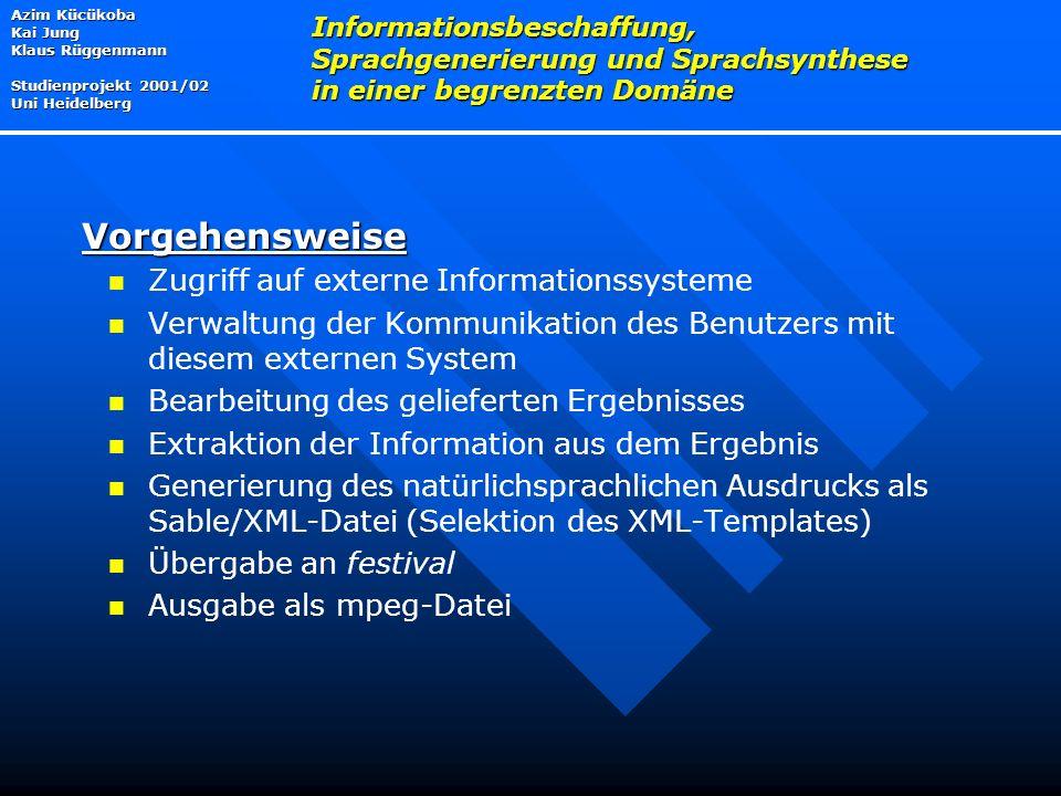 Zugriff auf externe Informationssysteme Verwaltung der Kommunikation des Benutzers mit diesem externen System Bearbeitung des gelieferten Ergebnisses Extraktion der Information aus dem Ergebnis Generierung des natürlichsprachlichen Ausdrucks als Sable/XML-Datei (Selektion des XML-Templates) Übergabe an festival Ausgabe als mpeg-Datei Azim Kücükoba Kai Jung Klaus Rüggenmann Studienprojekt 2001/02 Uni Heidelberg Informationsbeschaffung, Sprachgenerierung und Sprachsynthese in einer begrenzten Domäne Vorgehensweise