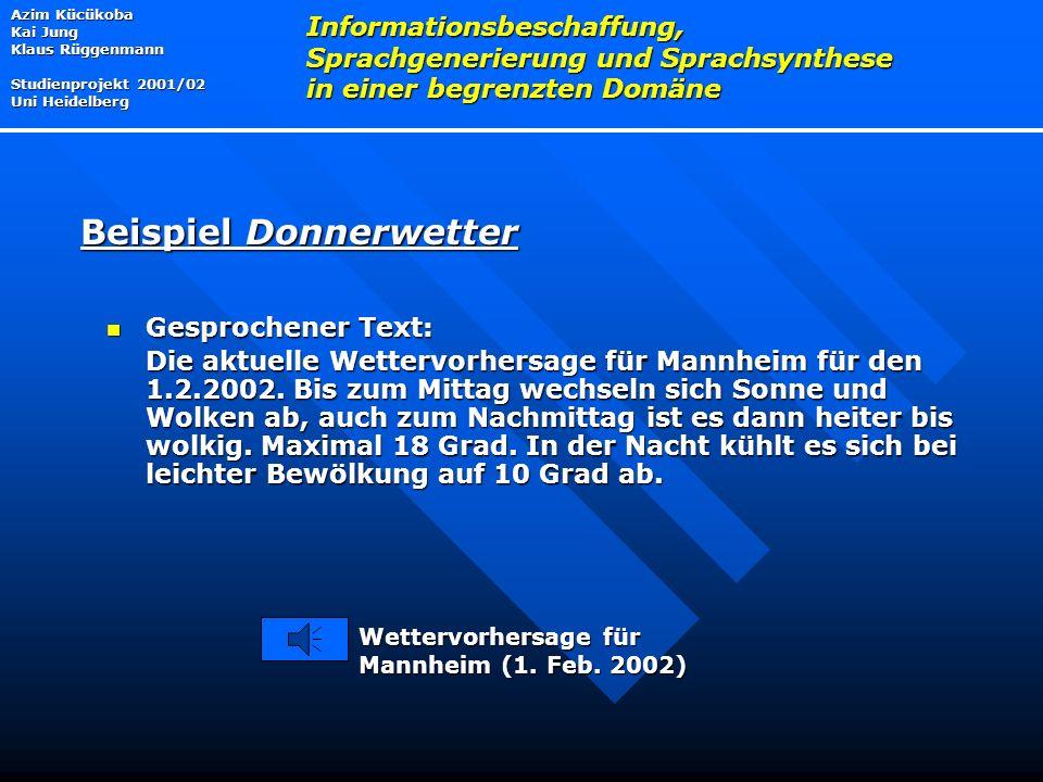 Gesprochener Text: Gesprochener Text: Die aktuelle Wettervorhersage für Mannheim für den 1.2.2002.