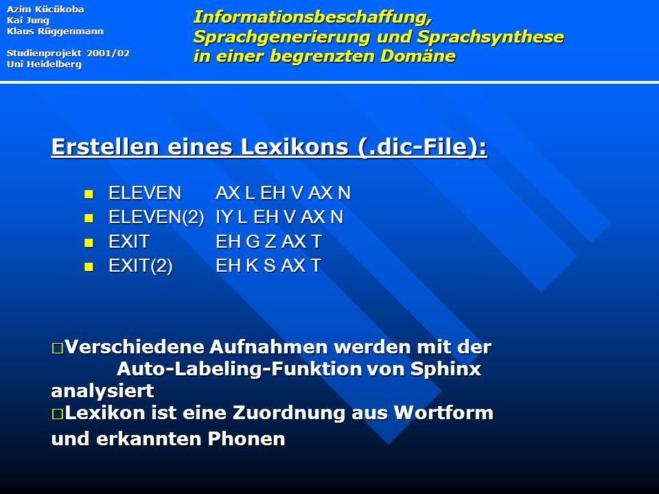 ELEVEN AX L EH V AX N ELEVEN AX L EH V AX N ELEVEN(2) IY L EH V AX N ELEVEN(2) IY L EH V AX N EXIT EH G Z AX T EXIT EH G Z AX T EXIT(2) EH K S AX T EXIT(2) EH K S AX T Azim Kücükoba Kai Jung Klaus Rüggenmann Studienprojekt 2001/02 Uni Heidelberg Informationsbeschaffung, Sprachgenerierung und Sprachsynthese in einer begrenzten Domäne Erstellen eines Lexikons (.dic-File):  Verschiedene Aufnahmen werden mit der Auto-Labeling-Funktion von Sphinx analysiert  Lexikon ist eine Zuordnung aus Wortform und erkannten Phonen
