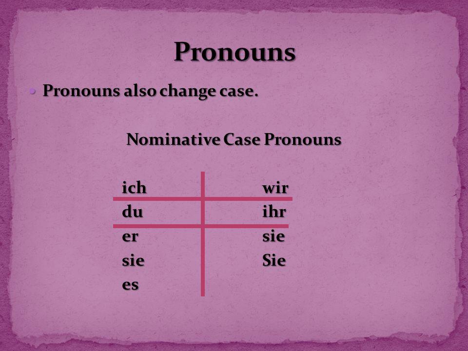 Pronouns also change case. Pronouns also change case. Nominative Case Pronouns ich wir duihr ersie sieSie es