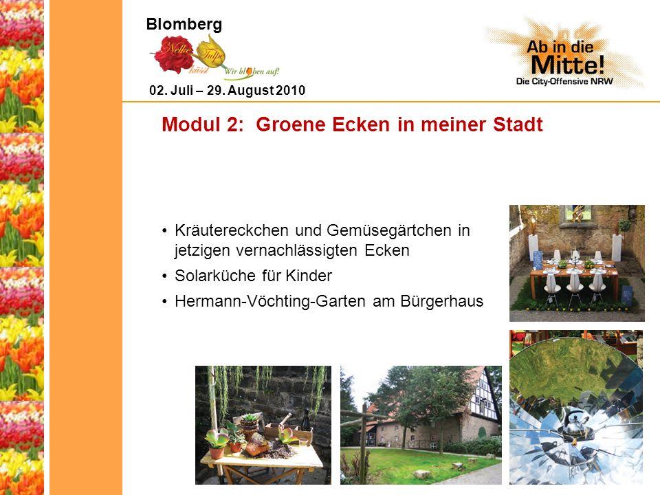 Modul 2: Groene Ecken in meiner Stadt Kräutereckchen und Gemüsegärtchen in jetzigen vernachlässigten Ecken Solarküche für Kinder Hermann-Vöchting-Garten am Bürgerhaus 02.