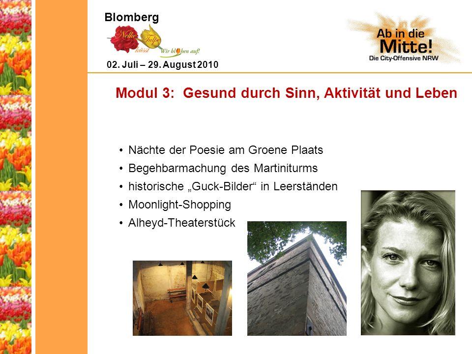 Modul 3: Gesund durch Sinn, Aktivität und Leben Nächte der Poesie am Groene Plaats Begehbarmachung des Martiniturms historische Guck-Bilder in Leerständen Moonlight-Shopping Alheyd-Theaterstück 02.