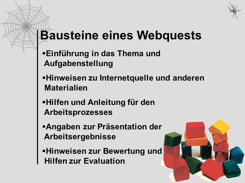 Einführung in das Thema und Aufgabenstellung Hinweisen zu Internetquelle und anderen Materialien Hilfen und Anleitung für den Arbeitsprozesses Angaben