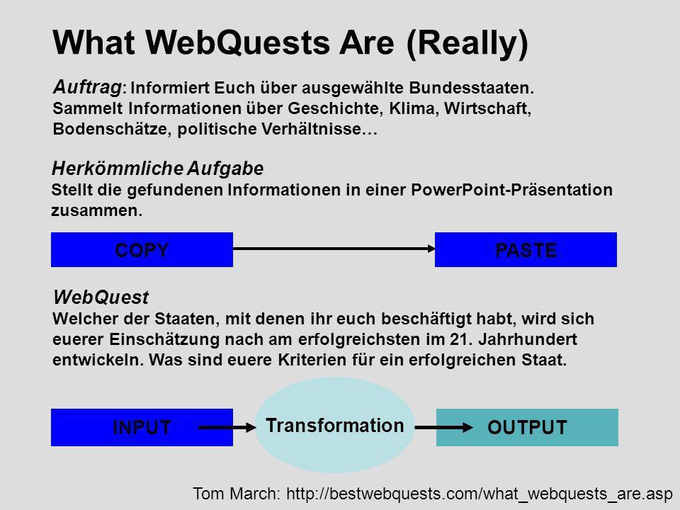 What WebQuests Are (Really) Auftrag : Informiert Euch über ausgewählte Bundesstaaten. Sammelt Informationen über Geschichte, Klima, Wirtschaft, Bodens