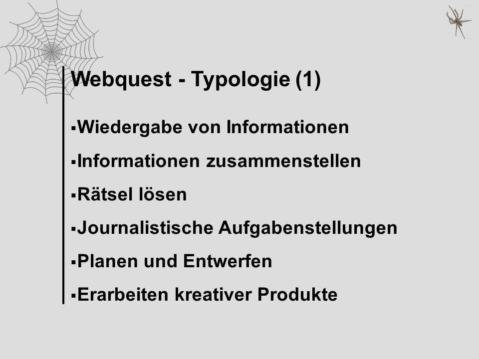 Webquest - Typologie (1) Wiedergabe von Informationen Informationen zusammenstellen Rätsel lösen Journalistische Aufgabenstellungen Planen und Entwerf