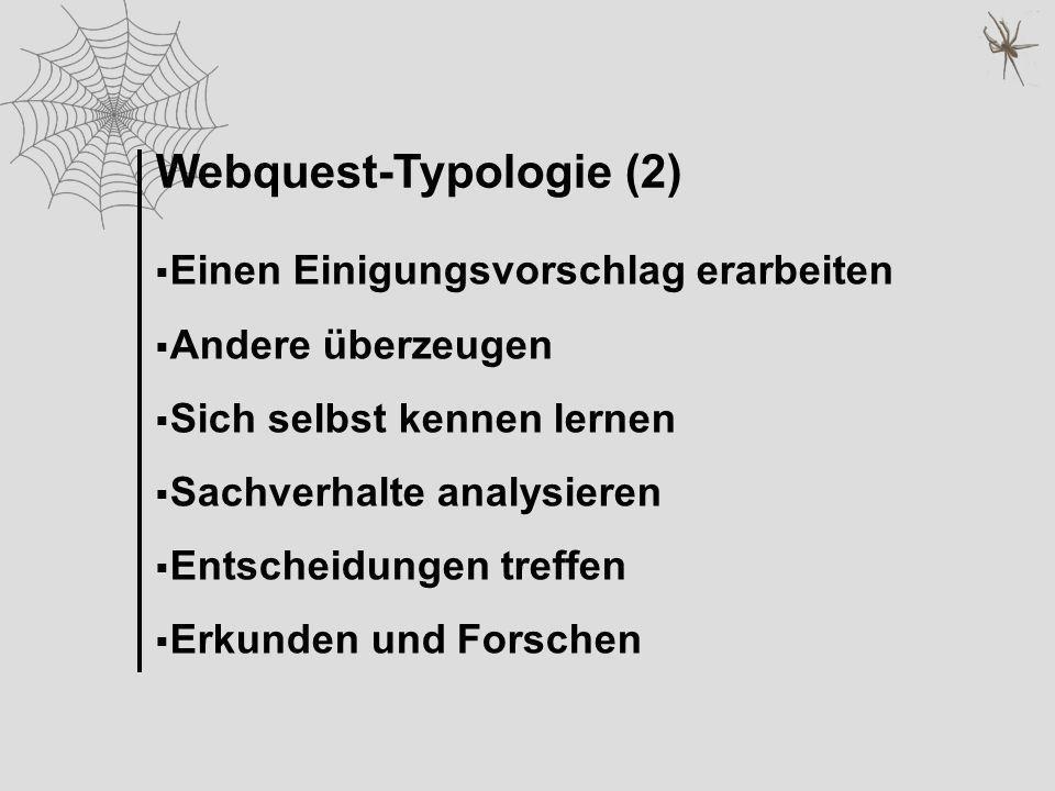 Webquest-Typologie (2) Einen Einigungsvorschlag erarbeiten Andere überzeugen Sich selbst kennen lernen Sachverhalte analysieren Entscheidungen treffen