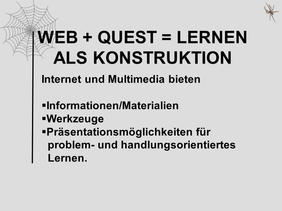 WEB + QUEST = LERNEN ALS KONSTRUKTION Internet und Multimedia bieten Informationen/Materialien Werkzeuge Präsentationsmöglichkeiten für problem- und h