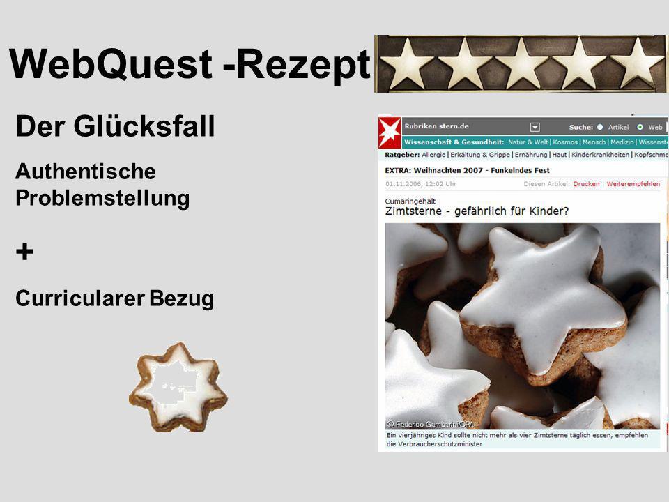 WebQuest -Rezept Eine gelungene situative Einbettung der Aufgabenstellung.