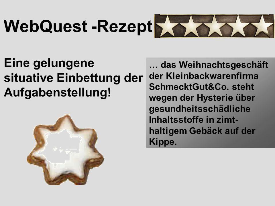 WebQuest -Rezept Eine gelungene situative Einbettung der Aufgabenstellung! … das Weihnachtsgeschäft der Kleinbackwarenfirma SchmecktGut&Co. steht wege