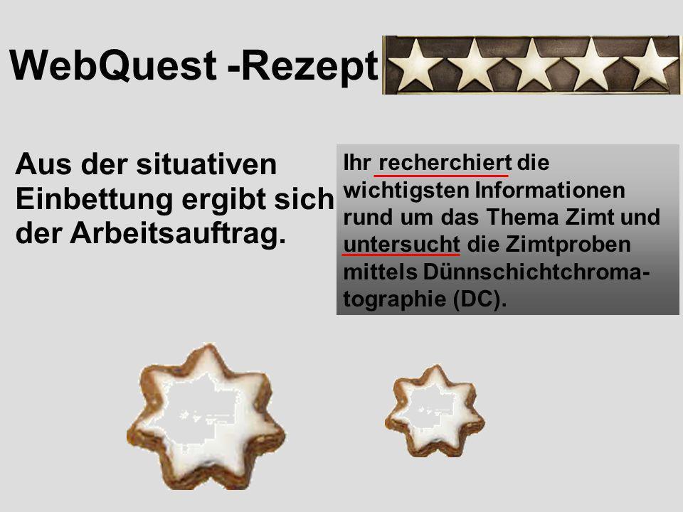 WebQuest -Rezept Aus der situativen Einbettung ergeben sich die Rollenzuweisungen.