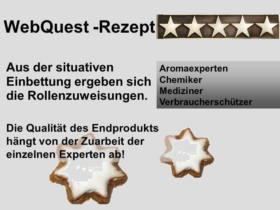 WebQuest -Rezept Aus der situativen Einbettung ergeben sich die Rollenzuweisungen. Aromaexperten Chemiker Mediziner Verbraucherschützer Die Qualität d
