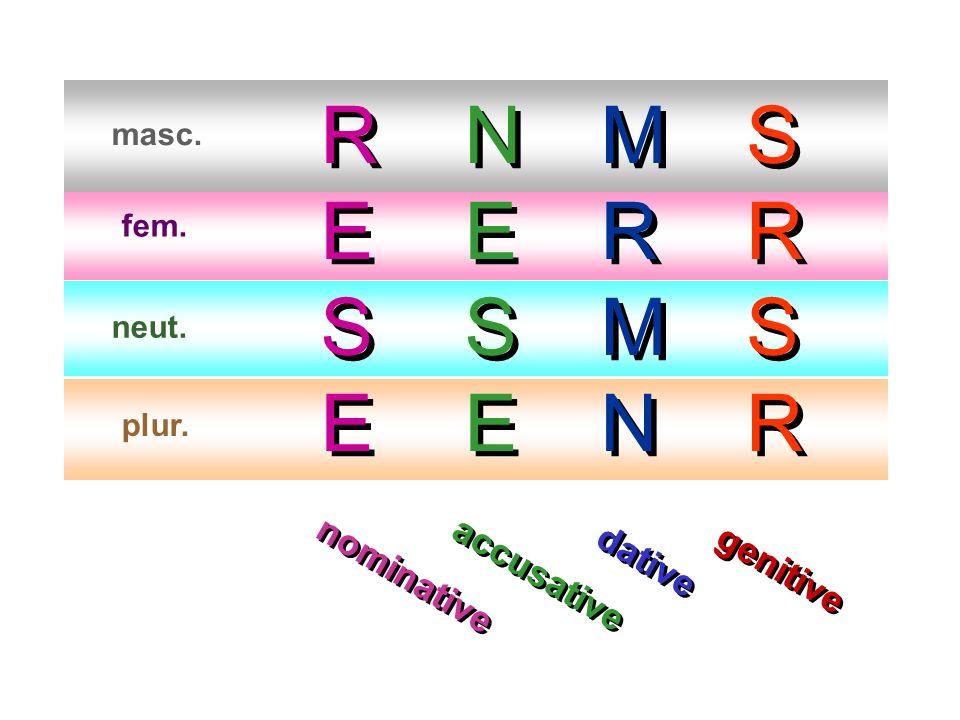 masc. fem. neut. plur. RESERESE RESERESE NESENESE NESENESE MRMNMRMN MRMNMRMN SRSRSRSR S R S R nominative accusative dative genitive