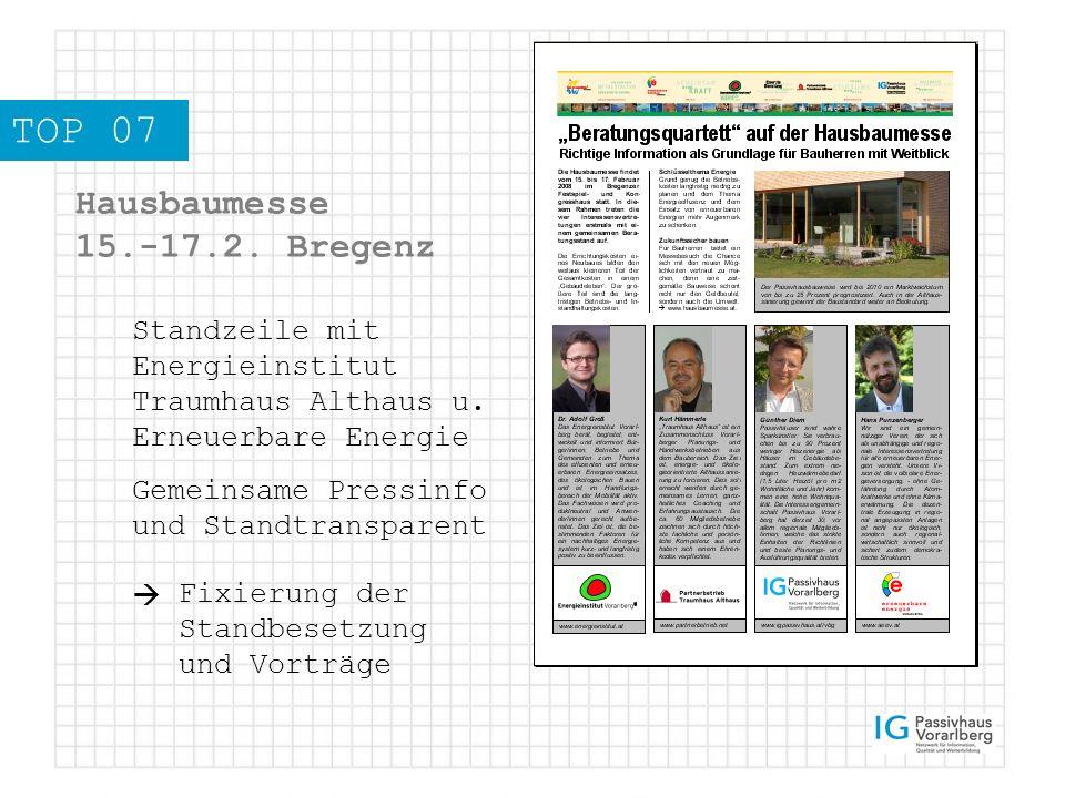 TOP 07 Hausbaumesse 15.-17.2. Bregenz Standzeile mit Energieinstitut Traumhaus Althaus u.