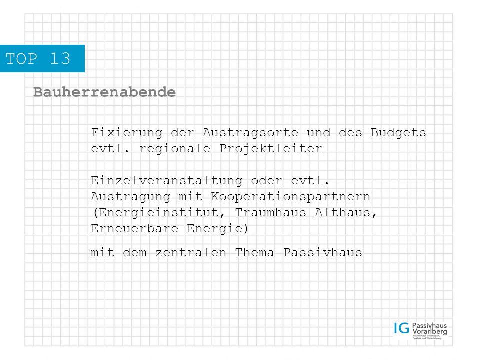 TOP 13 Bauherrenabende Fixierung der Austragsorte und des Budgets evtl.