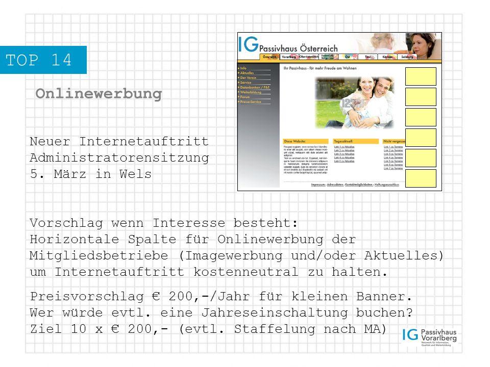 TOP 14 Onlinewerbung Neuer Internetauftritt Administratorensitzung 5.