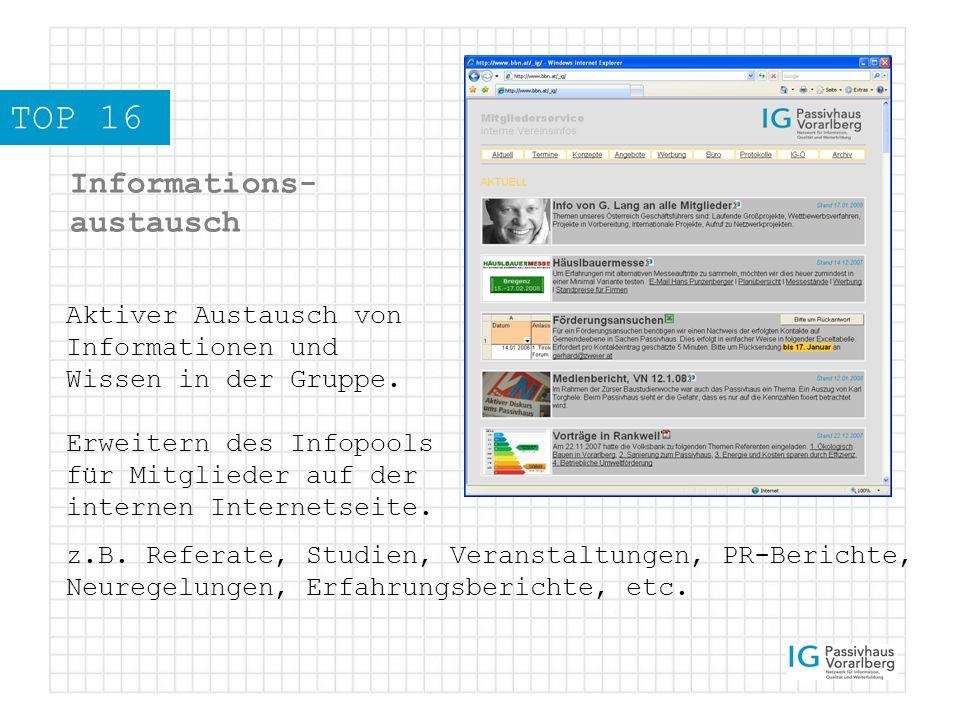 TOP 16 Informations- austausch Aktiver Austausch von Informationen und Wissen in der Gruppe.