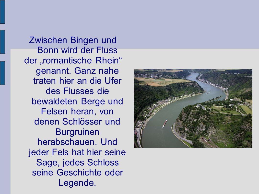 Zwischen Bingen und Bonn wird der Fluss der romantische Rhein genannt. Ganz nahe traten hier an die Ufer des Flusses die bewaldeten Berge und Felsen h