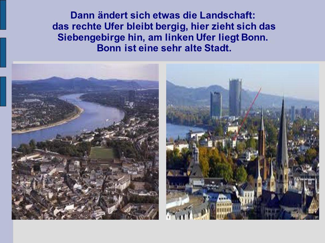 Dann ändert sich etwas die Landschaft: das rechte Ufer bleibt bergig, hier zieht sich das Siebengebirge hin, am linken Ufer liegt Bonn. Bonn ist eine