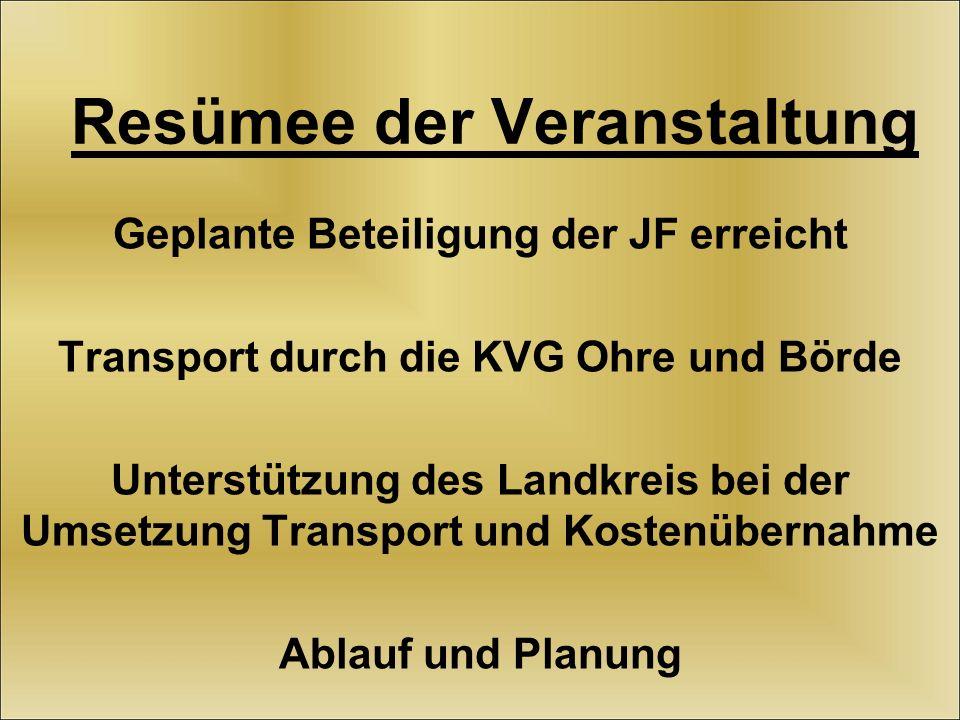 Resümee der Veranstaltung Geplante Beteiligung der JF erreicht Transport durch die KVG Ohre und Börde Unterstützung des Landkreis bei der Umsetzung Transport und Kostenübernahme Ablauf und Planung