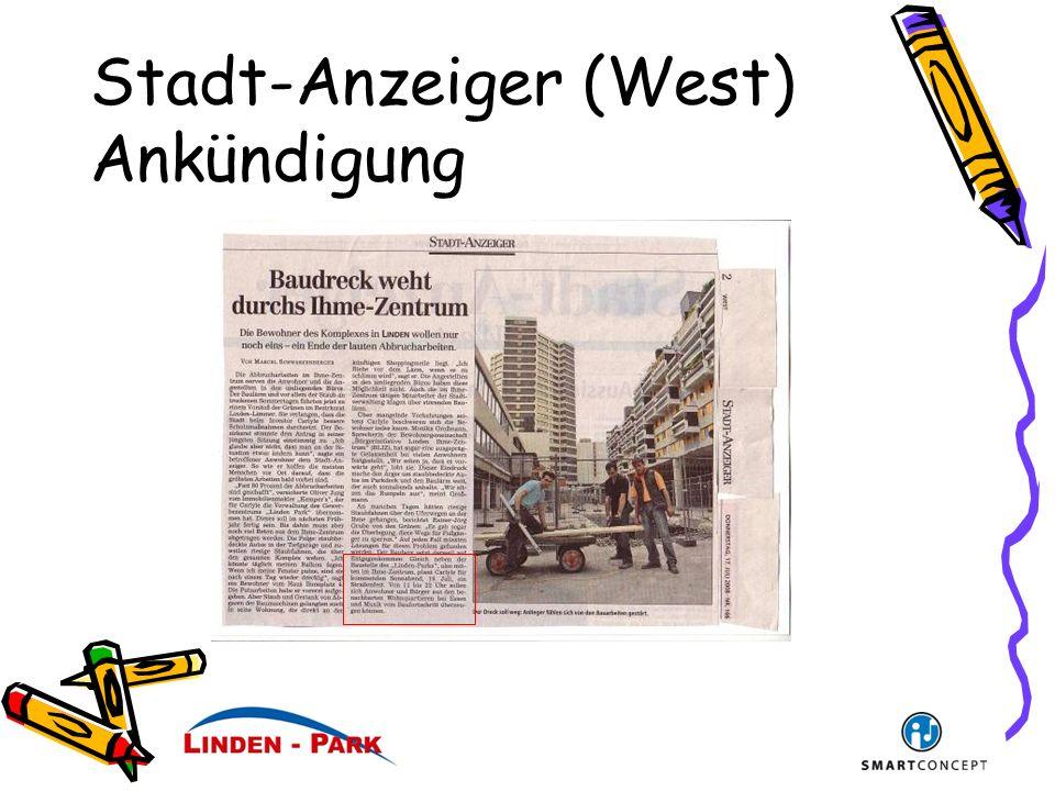 Stadt-Anzeiger (West) Ankündigung