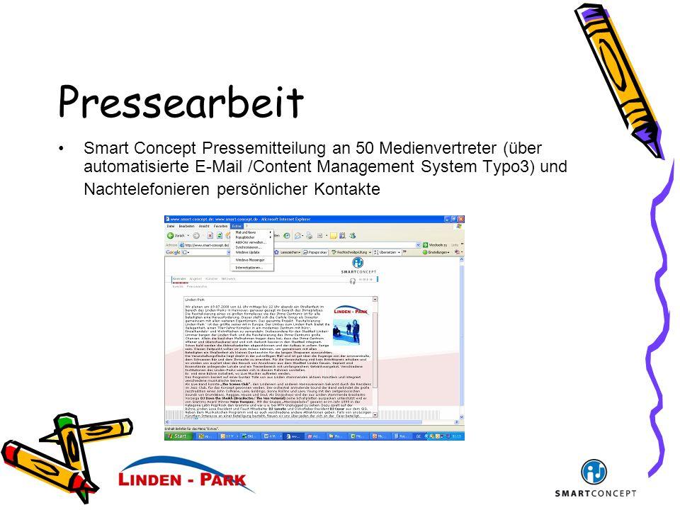 Pressearbeit Smart Concept Pressemitteilung an 50 Medienvertreter (über automatisierte E-Mail /Content Management System Typo3) und Nachtelefonieren persönlicher Kontakte