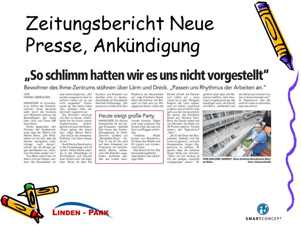 Zeitungsbericht Neue Presse, Ankündigung