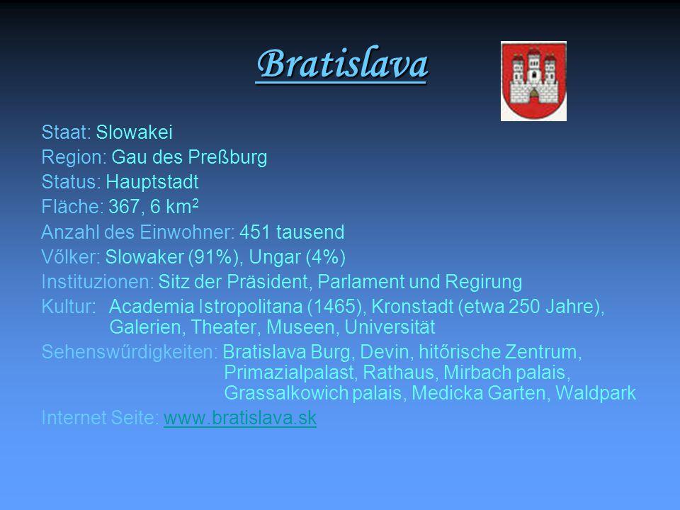 Bratislava Staat: Slowakei Region: Gau des Preßburg Status: Hauptstadt Fläche: 367, 6 km 2 Anzahl des Einwohner: 451 tausend Vőlker: Slowaker (91%), U