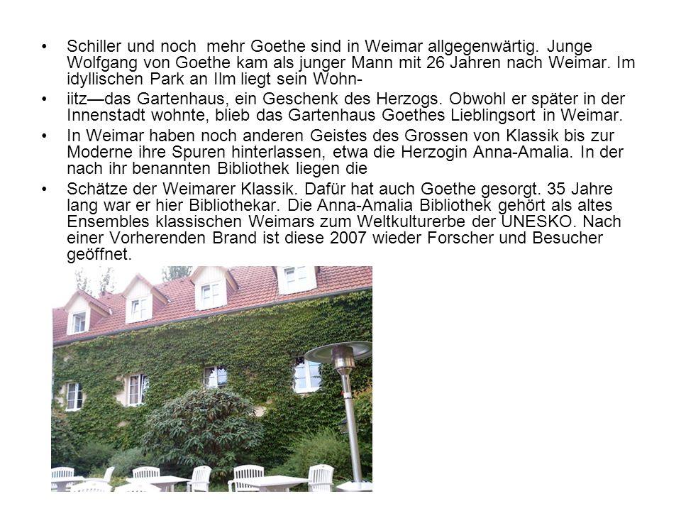 Schiller und noch mehr Goethe sind in Weimar allgegenwärtig. Junge Wolfgang von Goethe kam als junger Mann mit 26 Jahren nach Weimar. Im idyllischen P