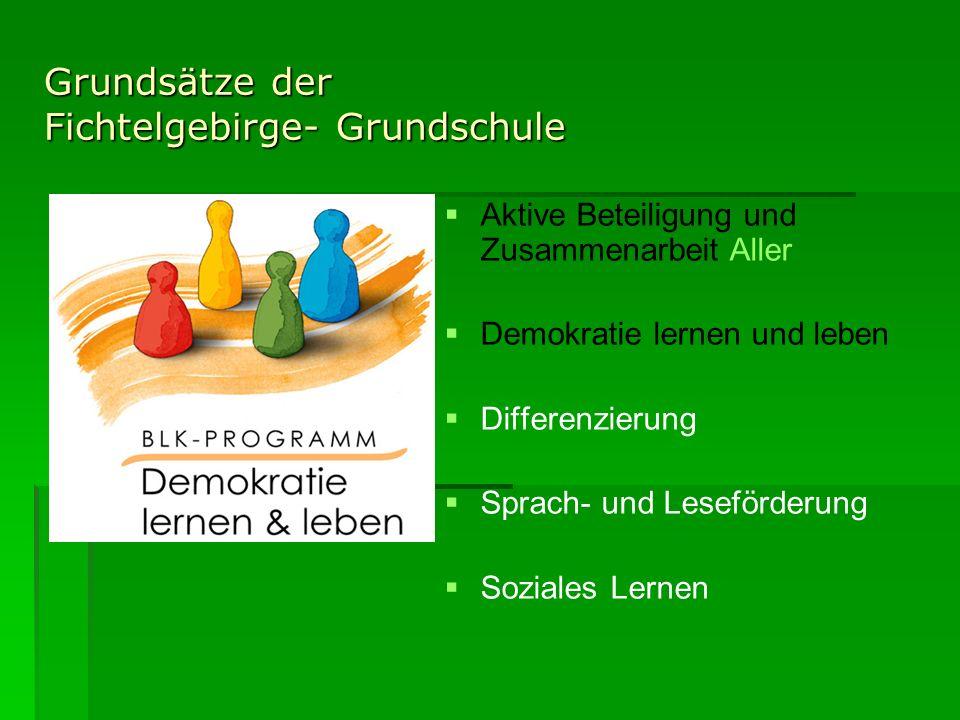 Grundsätze der Fichtelgebirge- Grundschule Aktive Beteiligung und Zusammenarbeit Aller Demokratie lernen und leben Differenzierung Sprach- und Leseför