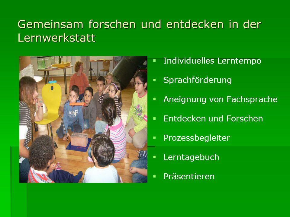Gemeinsam forschen und entdecken in der Lernwerkstatt Individuelles Lerntempo Sprachförderung Aneignung von Fachsprache Entdecken und Forschen Prozess
