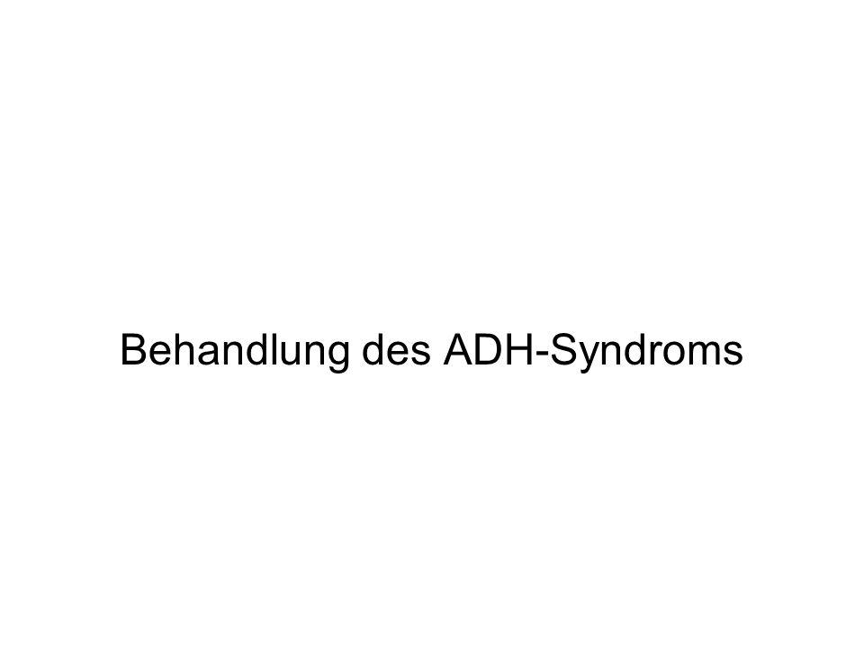 Neue Entwicklungen - Atomoxetin (Strattera®) Zulassung in Deutschland 2005, in der Schweiz 2009 Selektiver Noradrenalin-Aufnahmehemmer Atomoxetin erhöht die Noradrenalin-Konzentrationen im präfrontalen Cortex 1x Gabe morgens bevorzugt, auch 2x (-4x) Gabe möglich Regeldosis 0,8 – 1,2 – (1,8) mg/kg KG Beginn mit 10 (- 20) mg/Tag bzw.