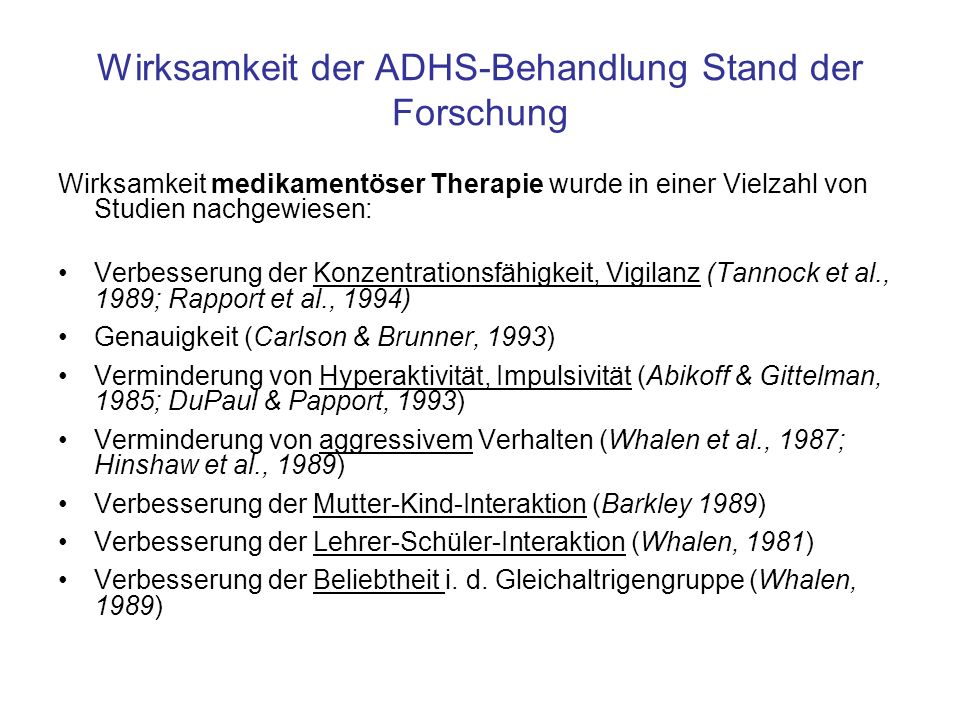 Die MTA-Studie Multisite Multimodal Treatment Study of Children with ADHD (MTA) (z.B.