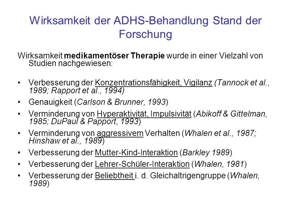 Wirksamkeit der ADHS-Behandlung: Stand der Forschung Multimodale Behandlungsansätze scheinen z.
