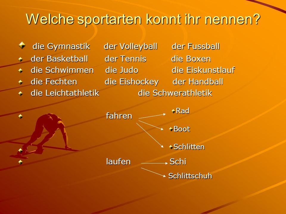 Welche sportarten konnt ihr nennen? die Gymnastik der Volleyball der Fussball die Gymnastik der Volleyball der Fussball der Basketball der Tennis die