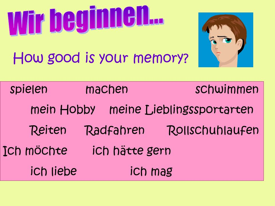 Take it further… Get your vocab list… 1.Ich möchte 2.Ich hasse 3.Ich habe gemacht 4.das Skifahren On a new piece of paper get rid of everything but the first letter.