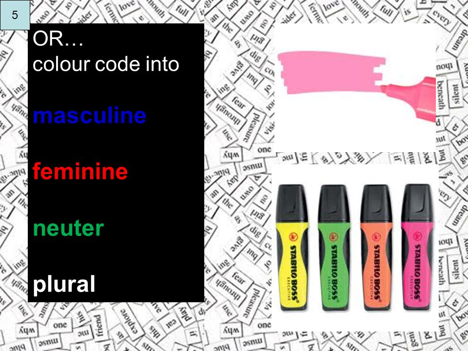 OR… colour code into masculine feminine neuter plural 5