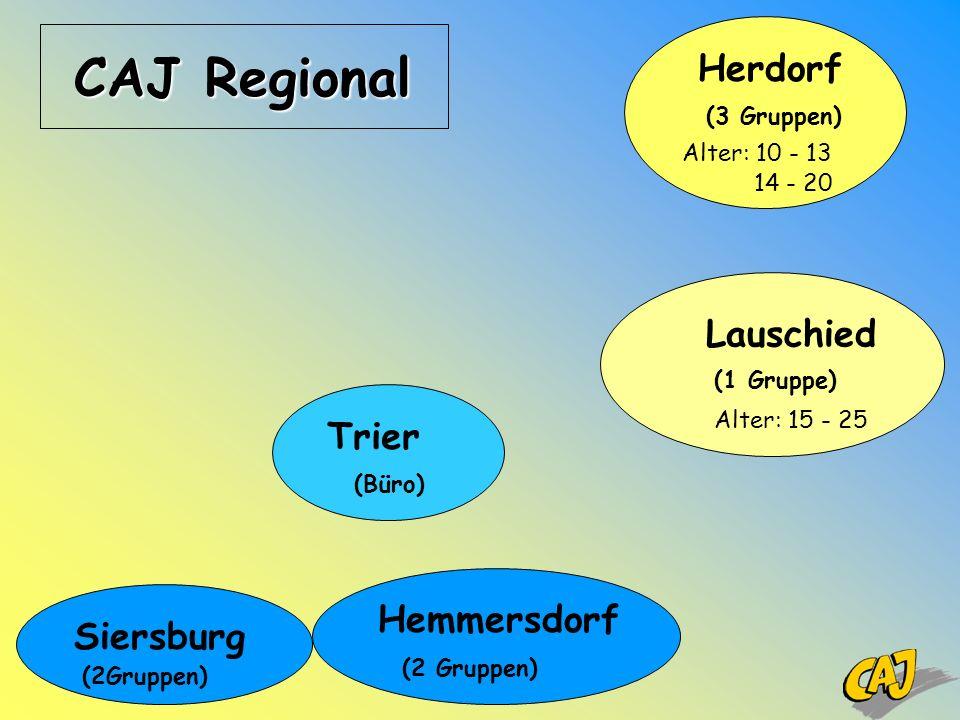 CAJ Regional Trier (Büro) Siersburg (2Gruppen) Hemmersdorf (2 Gruppen) Herdorf (3 Gruppen) Alter: 10 - 13 14 - 20 Lauschied (1 Gruppe) Alter: 15 - 25
