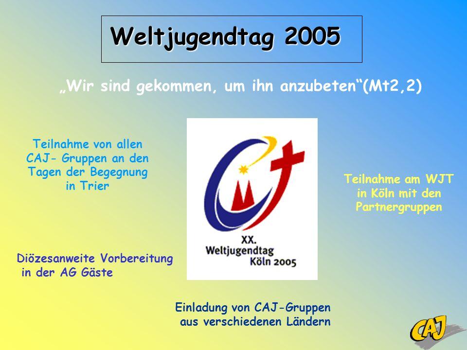 Weltjugendtag 2005 Teilnahme von allen CAJ- Gruppen an den Tagen der Begegnung in Trier Diözesanweite Vorbereitung in der AG Gäste Einladung von CAJ-G