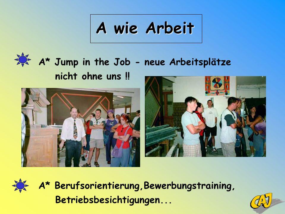 A* Jump in the Job - neue Arbeitsplätze nicht ohne uns !! A* Berufsorientierung,Bewerbungstraining, Betriebsbesichtigungen... A wie Arbeit