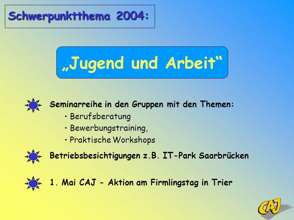 Jugend und Arbeit 1. Mai CAJ - Aktion am Firmlingstag in Trier Seminarreihe in den Gruppen mit den Themen: Berufsberatung Bewerbungstraining, Praktisc
