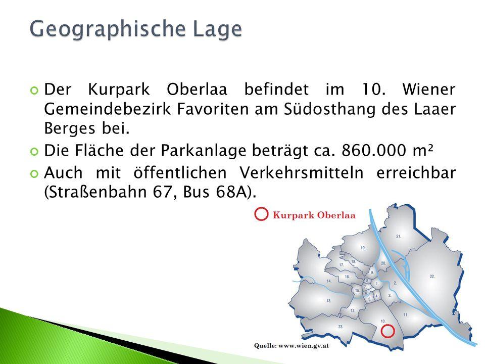Der Kurpark Oberlaa befindet im 10. Wiener Gemeindebezirk Favoriten am Südosthang des Laaer Berges bei. Die Fläche der Parkanlage beträgt ca. 860.000