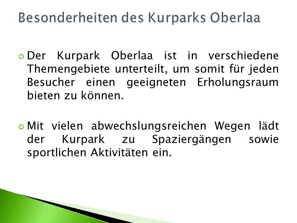 Der Kurpark Oberlaa ist in verschiedene Themengebiete unterteilt, um somit für jeden Besucher einen geeigneten Erholungsraum bieten zu können. Mit vie