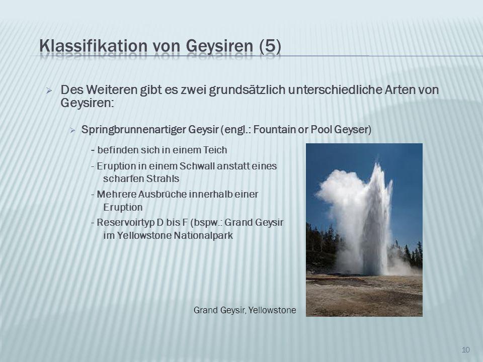 Des Weiteren gibt es zwei grundsätzlich unterschiedliche Arten von Geysiren: Springbrunnenartiger Geysir (engl.: Fountain or Pool Geyser) 10 - befinde