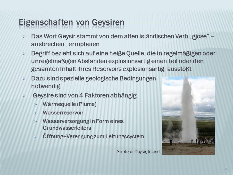 24 Die berühmtesten Geysire im Nationalpark: Geysir Intervall [h] Höhe Eruptionssäule [m] Dauer [min] Sonstiges Grand Geysir9,7550-60 10-12 Wasserphase, mehrere Ausbrüche hintereinander Springbrun- nenartig Old Faithful1,530-552-12 Wasserphasedüsenartig Grotto-Geysir unregel- mäßig 10-13 Über 60 Wasserphase Springbrun- nenartig Great-Fountain- Geysir 12 (±2)30-50 90 Wasserphase, Mit Pausn düsenartig Quelle: Wikipedia und The Geyser Observation and Study Association (GOSA)