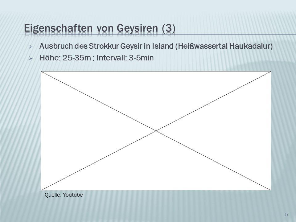 Ausbruch des Strokkur Geysir in Island (Heißwassertal Haukadalur) Höhe: 25-35m ; Intervall: 3-5min 5 Quelle: Youtube