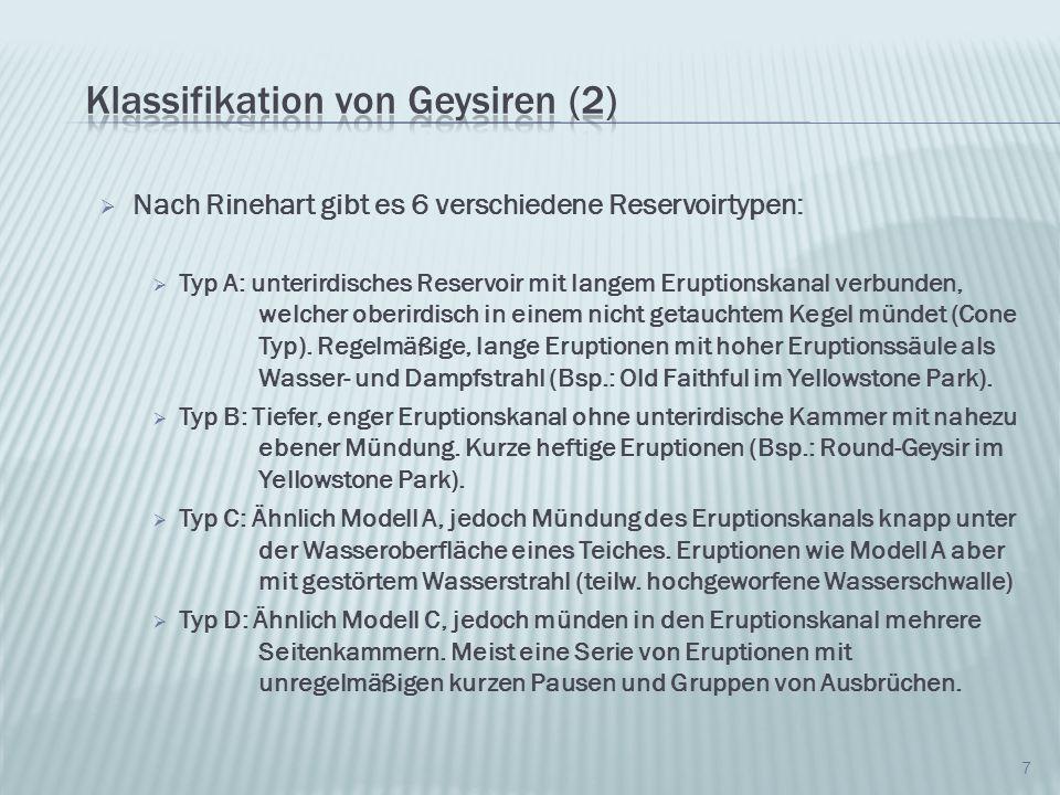 Nach Rinehart gibt es 6 verschiedene Reservoirtypen: Typ E: Eruptionskanal führt von einer großen unterirdischen Kammer in einen Teich.