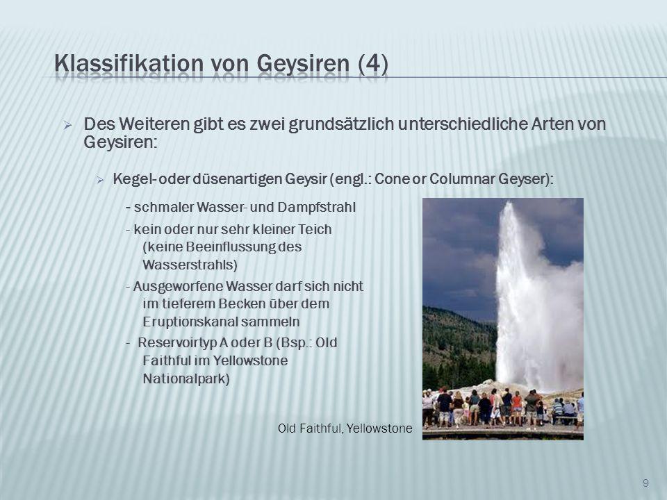 Des Weiteren gibt es zwei grundsätzlich unterschiedliche Arten von Geysiren: Springbrunnenartiger Geysir (engl.: Fountain or Pool Geyser) 10 - befinden sich in einem Teich - Eruption in einem Schwall anstatt eines scharfen Strahls - Mehrere Ausbrüche innerhalb einer Eruption - Reservoirtyp D bis F (bspw.: Grand Geysir im Yellowstone Nationalpark Grand Geysir, Yellowstone