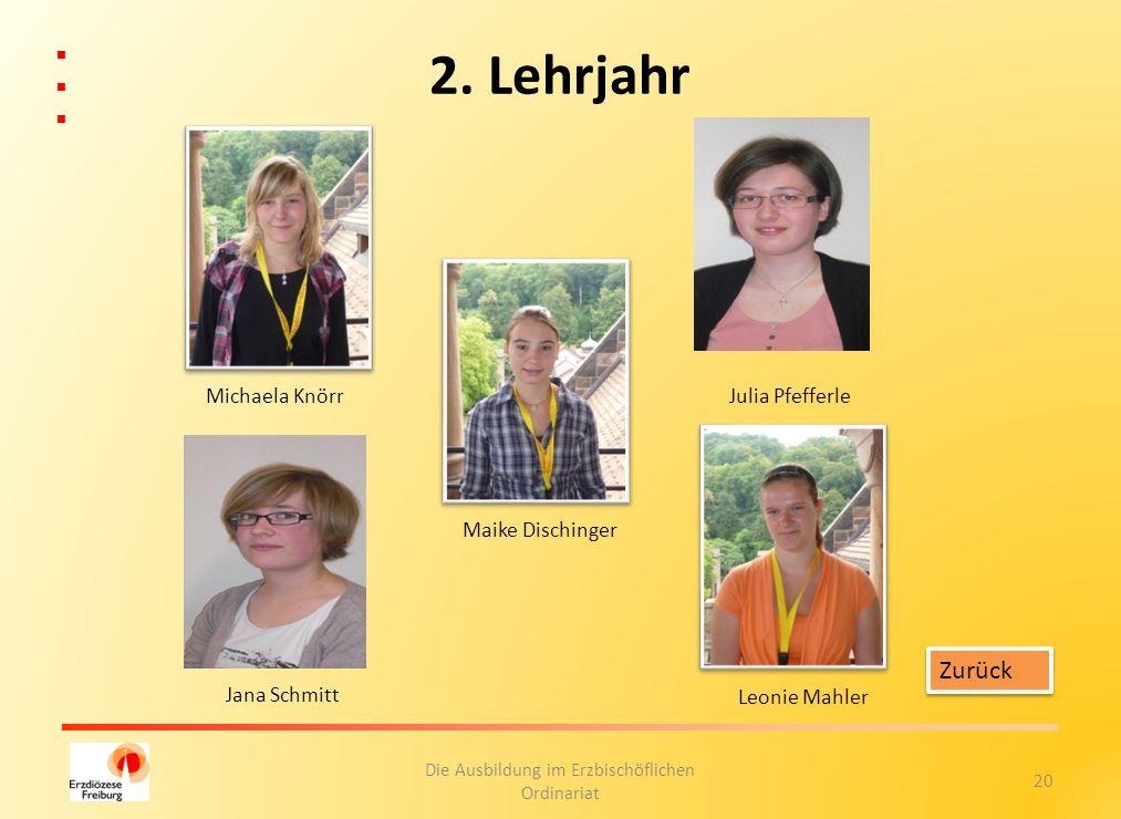 20 Die Ausbildung im Erzbischöflichen Ordinariat 2. Lehrjahr Zurück Michaela Knörr Leonie Mahler Maike Dischinger Julia Pfefferle Jana Schmitt